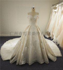 歐美外貿蕾絲大拖尾婚紗來圖來樣量身定製批發加工