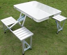 连体铝合金折叠桌椅 广告展销桌椅 户外野餐桌椅 写生桌