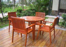 户外休闲桌椅木制休闲桌椅公园一桌四椅