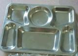304不鏽鋼快餐盤食品級六格方形快餐盤33*25cm