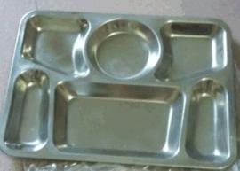 304不锈钢快餐盘食品级六格方形快餐盘33*25cm