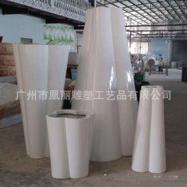 商场美陈几何大花箱玻璃钢花盆生产厂家装饰摆件