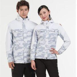 新款男户外迷彩冲锋衣运动服装女两件套压胶防水加厚保暖防寒服