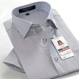 韩版男士衬衫短袖夏装定做时尚条纹商务男士衬衣