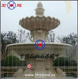 别墅花园黄金麻石雕喷泉 流水景观