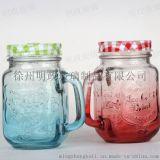 厂销400ml-500ml墨西哥公鸡杯奶茶果汁杯透明玻璃水杯把手杯带盖