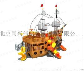 大型木质海盗船、儿童海盗船、爬网滑梯、木制景观玩具