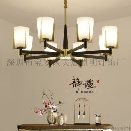简约新中式吊灯现代餐厅家用中国风玻璃吊灯灯具