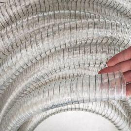 PU透明钢丝软管PU钢丝增强软管食品级钢丝管