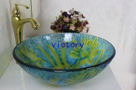 钢化玻璃洗漱盆 梳妆盆 艺术盆 手绘盆 台盆 卫浴洁具 N-115