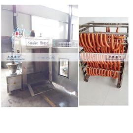 供应哈尔滨红肠加工全套设备  香肠熏蒸箱  多功能烟熏箱  304不锈钢制造厂家直销