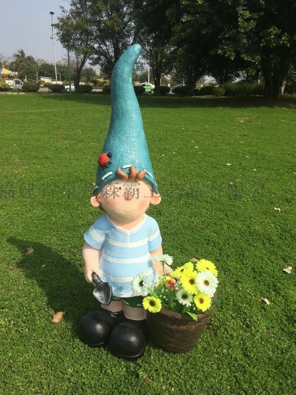 樹脂工藝品 卡通人物尖帽小孩 園林雕塑 新年禮品