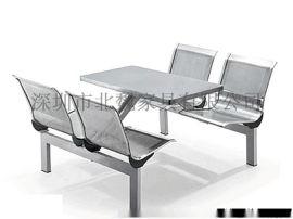 廣東不鏽鋼連體餐桌椅圖片、食堂連體餐桌椅