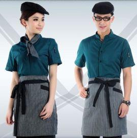 厂家定做酒店工作服夏装女西餐厅服务员工作服饭店餐饮短袖咖啡厅