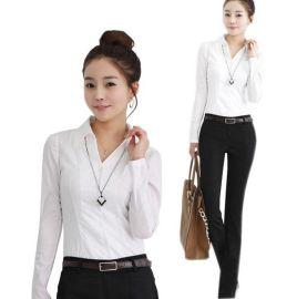 厂家生产定做夏季工作服女式长袖衬衫办公室白领纯色V领白衬衣