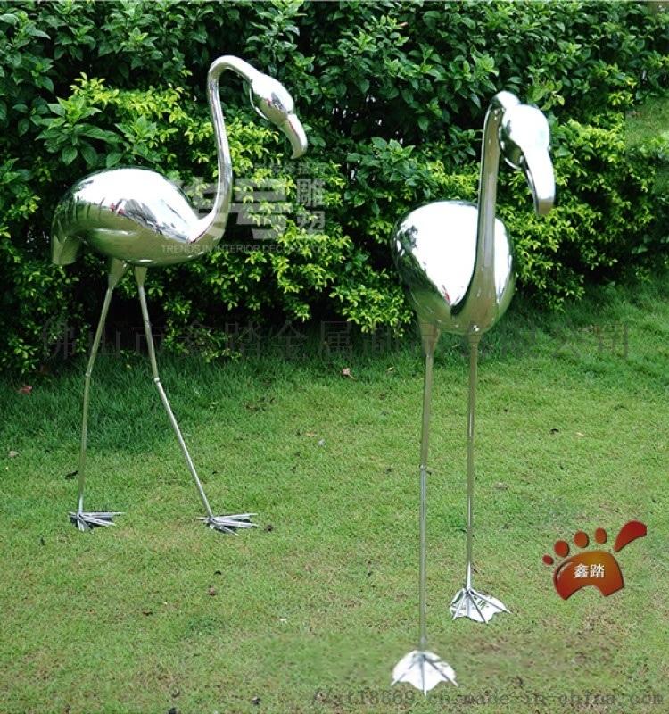 鏡面不鏽鋼火烈鳥雕塑動物模擬金屬雕塑園林擺件