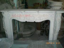 石材精工石雕壁炉 欧式壁炉架  白色大理石壁炉
