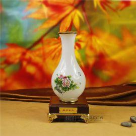 荣华富贵玉壶春 琉璃玉石花瓶摆件 创意工艺品商务会议乔迁