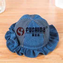 春秋韓版女童牛仔漁夫帽 雙層蝴蝶結兒童拼接水洗盆帽