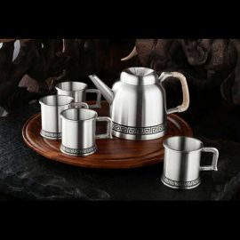 泰国锡器 回纹茶具四杯 商务 友情 艺术收藏