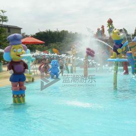 儿童玻璃钢戏水小品 大型水上乐园设备儿童戏水玩具 小丑厨师喷水