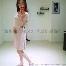 郑州卡梵朵品牌女装简约印花单件连衣裙