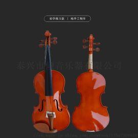 实木亮光小提琴初学者练习考级教学用全套枣木配件