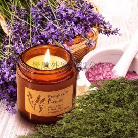 茶色玻璃药罐香薰蜡烛天然植物精油大豆蜡香味蜡烛