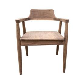 胡桃木餐椅北美黑胡桃木广岛椅咖啡椅实木扶手靠背椅白茬白胚