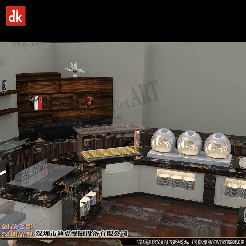 大理石自助餐台 餐厅厨房规划设计迪克 餐台功能布局