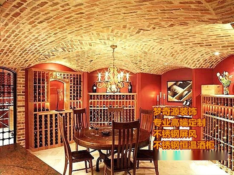 别墅酒窖 复古酒柜   柜台 地下室整体酒窖定制