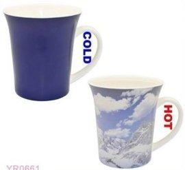 雪山喇叭杯 马克杯 变色喇叭杯 杯子制定厂家  深圳变色杯厂