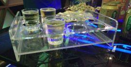 亞克力KTV啤酒杯架 酒吧白酒八角杯托架 KTV 12格圓孔方孔杯架 白酒展示架