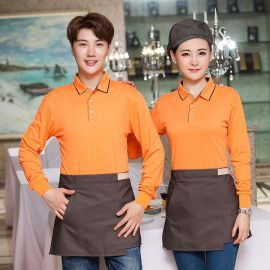 韩式服务员工作服T恤长袖酒店餐饮奶茶店 火锅店工服