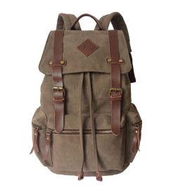 背包定制订做大容量徒步旅行双肩包帆布户外登山包帆布配皮复古风