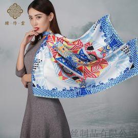 杭州工厂定制数码印花真丝围巾加工定制一条起订