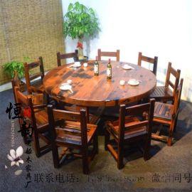 老船木餐桌全实木家具饭桌餐厅长桌聚会中式西式聚餐晚会会议桌