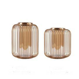 欧式创意家居饰品铁艺玻璃烛台样板间烛台圣诞烛台西餐厅烛台