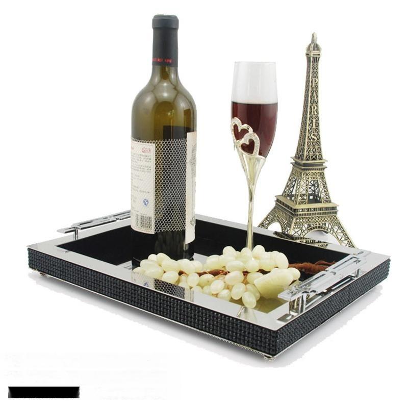 现代中式长方形黑色水晶钻石托盘样板间银色边框金属装饰家用创意