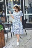 2018年米谷兒大版印花連衣裙品牌折扣女裝走份批發