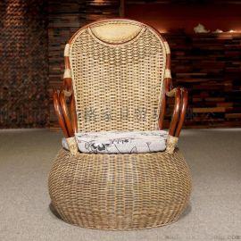 藤格格 4015 厂家批发印尼植物藤椅 豪华老板椅 高背椅 藤木沙发椅休闲椅
