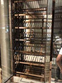 供应不锈钢酒柜中式钛金酒柜