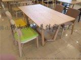廠家定製簡易方形四人位實木腳食堂餐桌椅