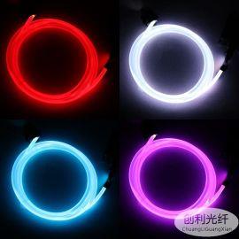 實心6mm通體側光發光光纖塑料導光條光纖線發光光纖電子工藝導光