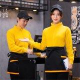 員工作服長袖衛衣冬季加絨厚保暖餐廳飯店外賣工衣男女秋冬裝