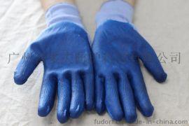 富多夫蓝纱蓝胶挂胶手套