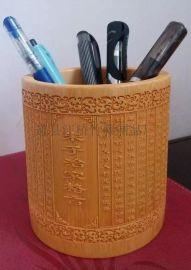 江桥竹藤生态装饰工艺品厂家定做各种原生态雕刻工艺竹制笔筒
