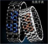 LED熔巖鐵武士鏈條表 電子炫酷手表 時尚金屬情侶熔巖表