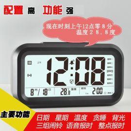 大屏語音報時貪睡背光電子鬧鐘聰明鍾兒童牀頭鬧鐘溫度星期萬年曆顯示多功能老人鍾