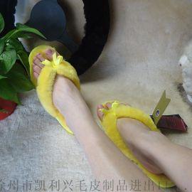 春季新款羊皮毛一体夹脚带蝴蝶结室内拖鞋家居鞋室内鞋